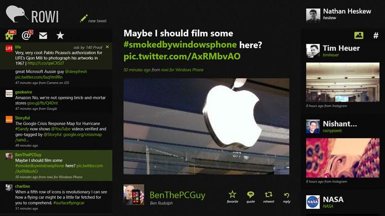 Rowi for Win8 UI full screenshot