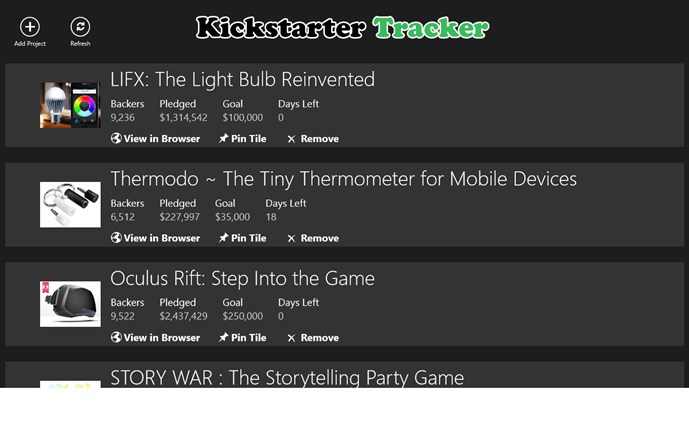 Kickstarter Tracker screen shot 0