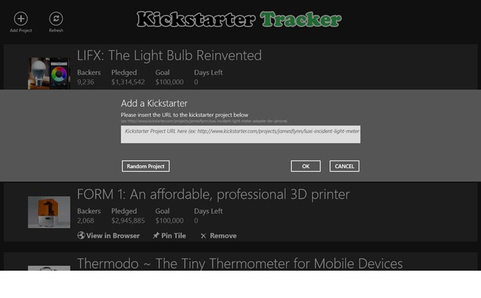 Kickstarter Tracker screen shot 2