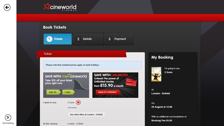 Cineworld screen shot 4