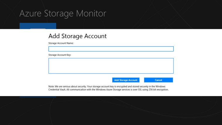 Azure Storage Monitor screen shot 2
