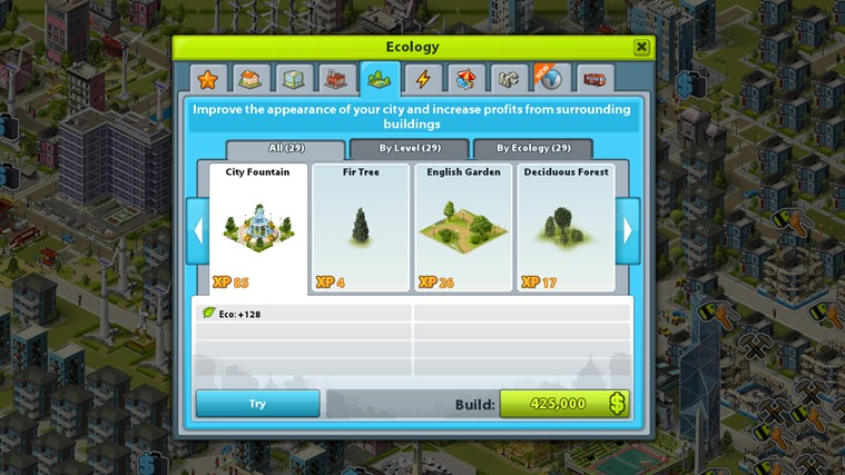 Manage the ecology and energy use in your city by building power stations and parks