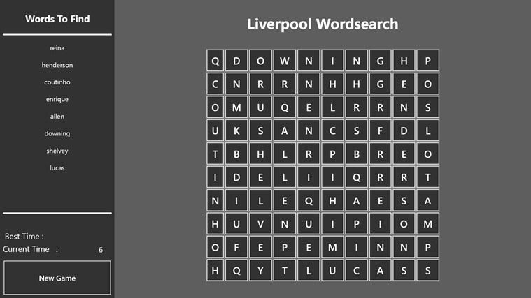 Liverpool Wordsearch app for Windows in the Windows Store