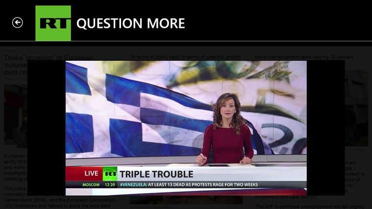 RT News English screen shot 4