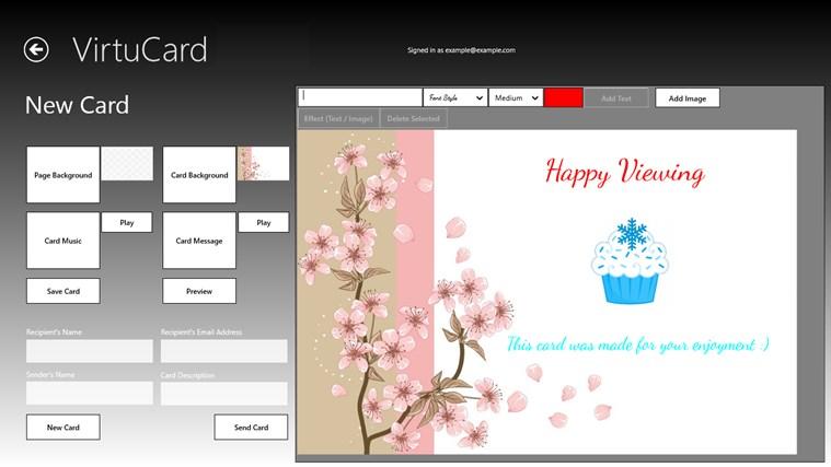 VirtuCard Demo screenshot