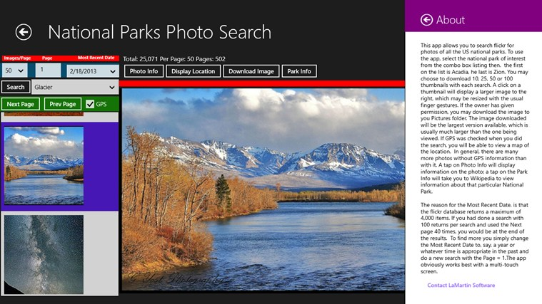 National Parks Photo Search screen shot 6