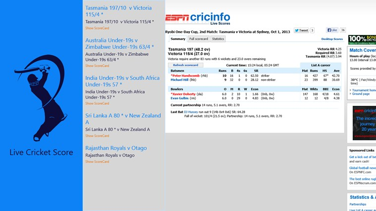 Cricket Live Score screen shot 2