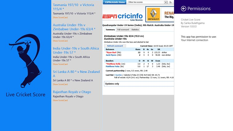 Cricket Live Score screen shot 4