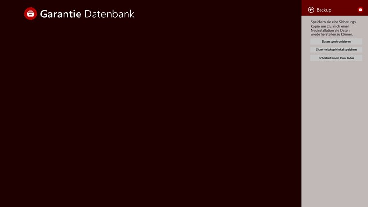 Garantiedatenbank Screenshot 4