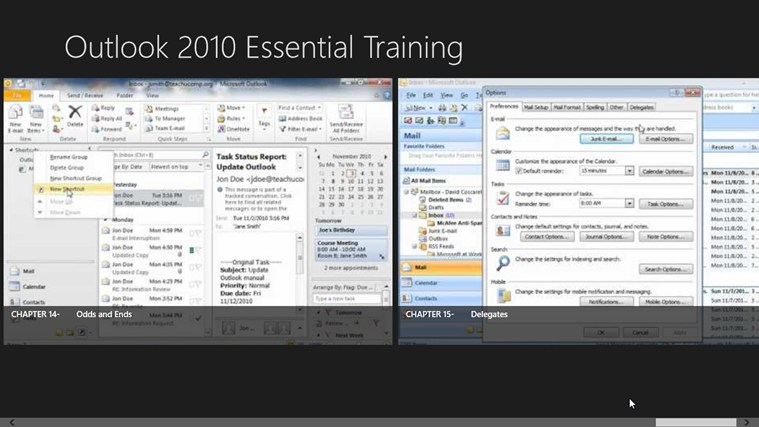 Outlook 2010 Tutorials: Essential Training screen shot 8