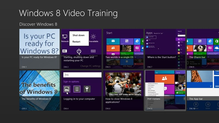 Video Training for Windows ® 8-skärmbild 0