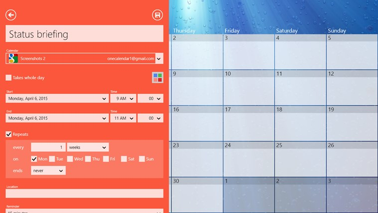 One Calendar screen shot 2