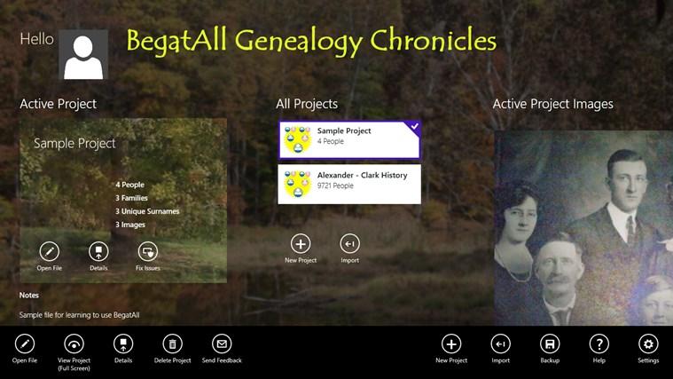 BegatAll Genealogy Chronicles screen shot 2