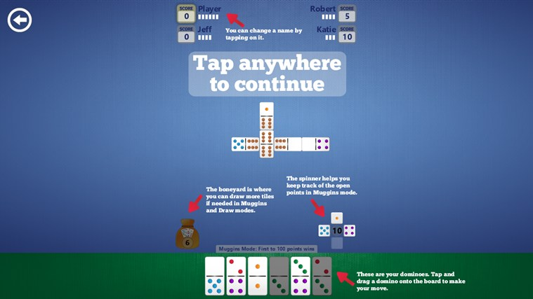Dominoes screen shot 2
