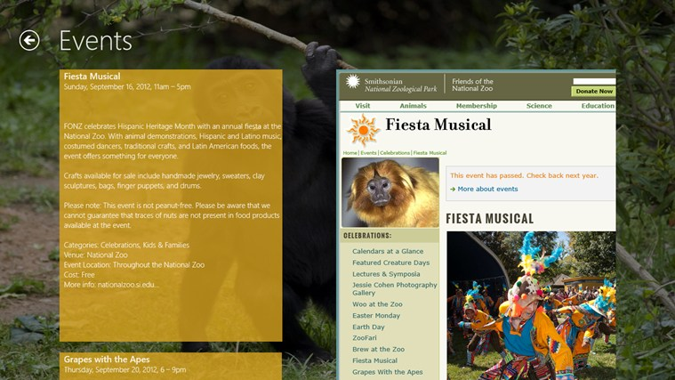 National Zoo screen shot 4
