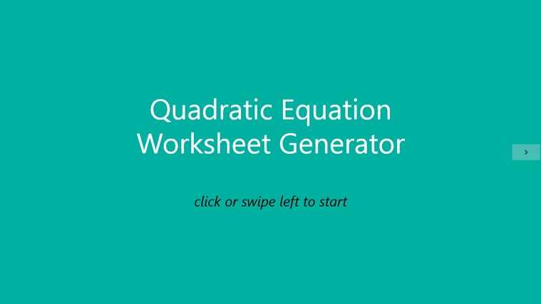 Quadratic Equation Worksheet screenshot 0