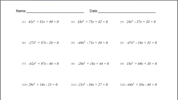 Quadratic Equation Worksheet screenshot 2
