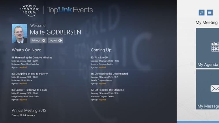 World Economic Forum Toplink Events screen shot 0
