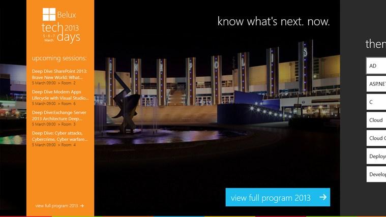 Microsoft TechDays Belux 2013 schermafbeelding 0