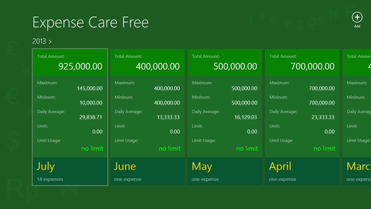 Expense Care Free screen shot 0