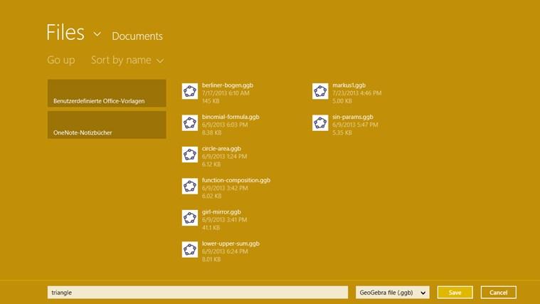 GeoGebra screen shot 2