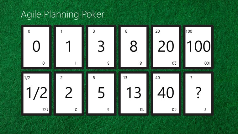 Agile planning poker cards