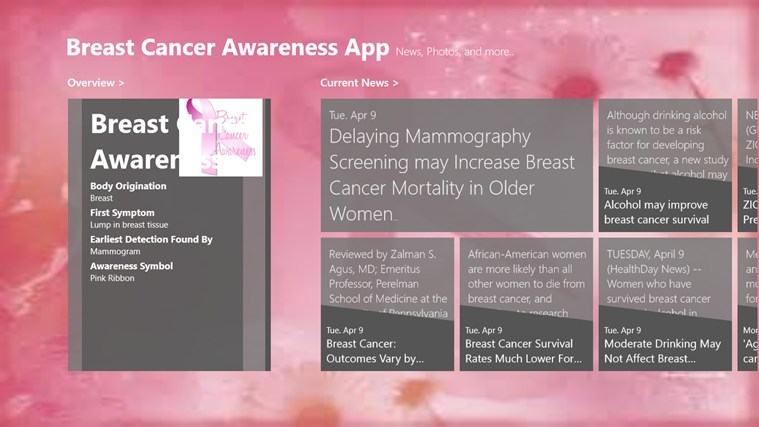 Breast Cancer Awareness App screen shot 0