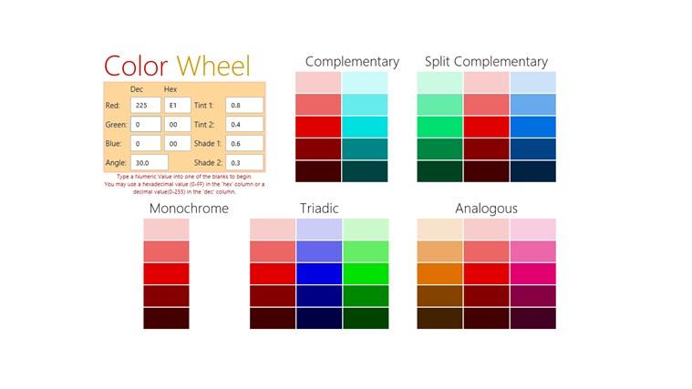 Color Wheel A Color Scheme Generator App For Windows In