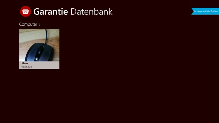Garantiedatenbank Screenshot 0