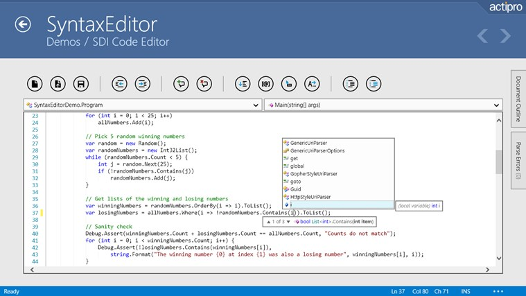 Actipro WinRT XAML Controls سکرین شاٹ 0