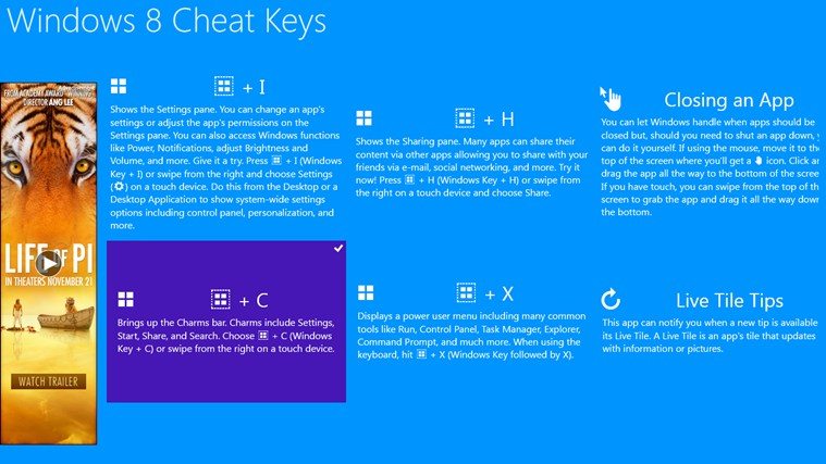 Windows 8 Cheat Keys screen shot 0