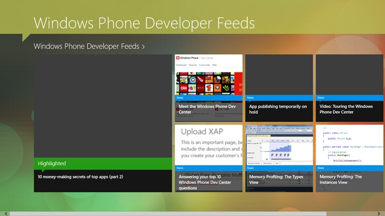 Windows Phone Developer Feeds screen shot 0
