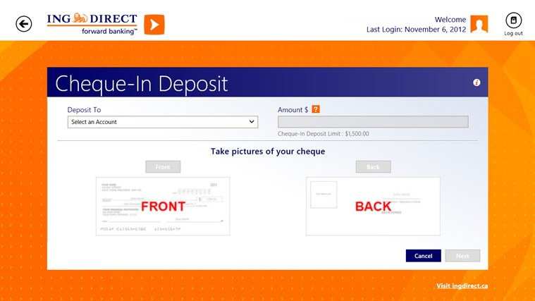 ING DIRECT Canada screen shot 0