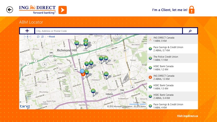 ING DIRECT Canada screen shot 2