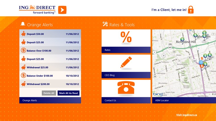 ING DIRECT Canada screen shot 4