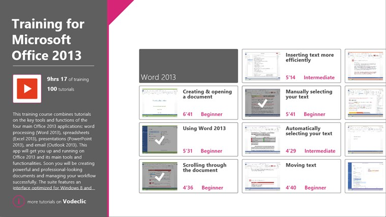 Training for Microsoft Office 2013 by Vodeclic screenshot 0