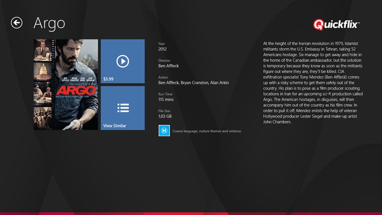 Quickflix screen shot 2
