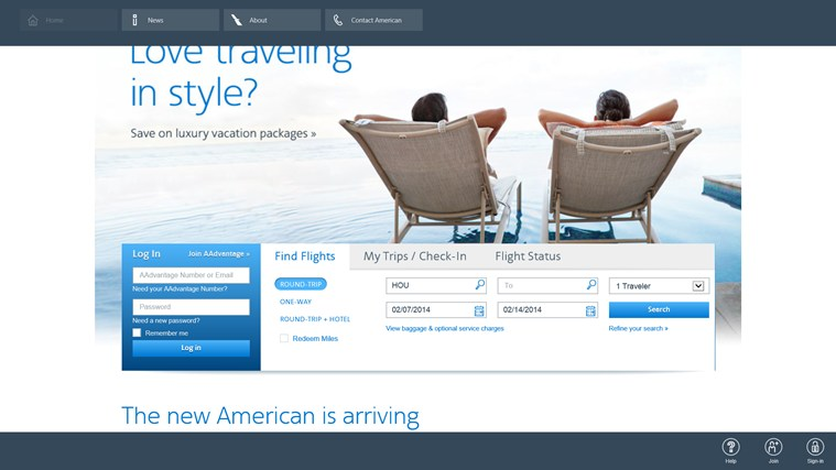 American Airlines screen shot 0