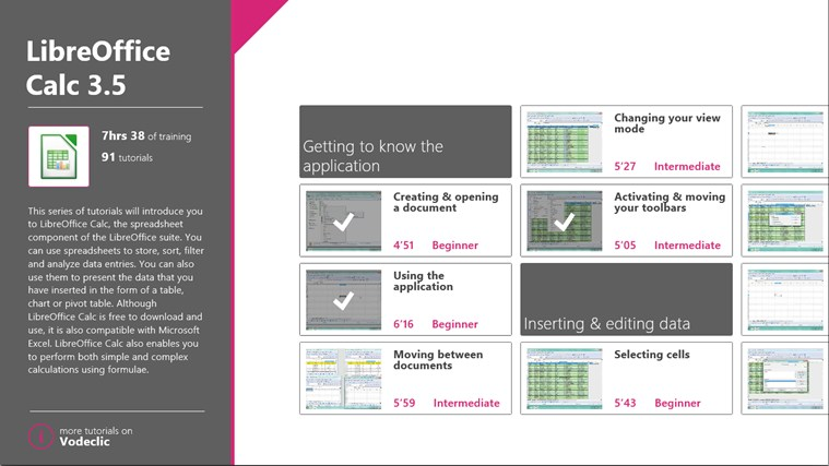 LibreOffice Calc Training skærmbillede 0