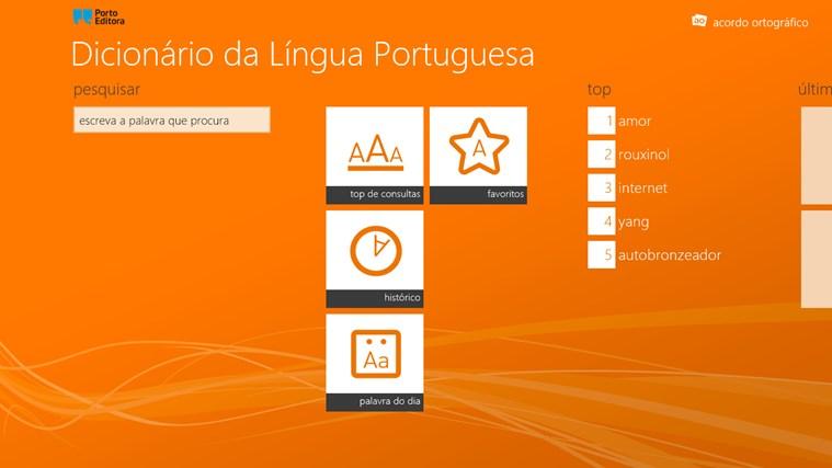 Dicionário da Língua Portuguesa Porto Editora captura de ecrã 0