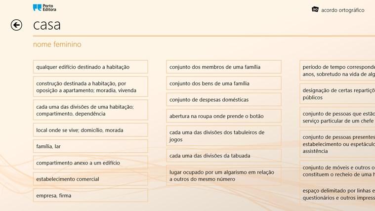 Dicionário da Língua Portuguesa Porto Editora captura de ecrã 2