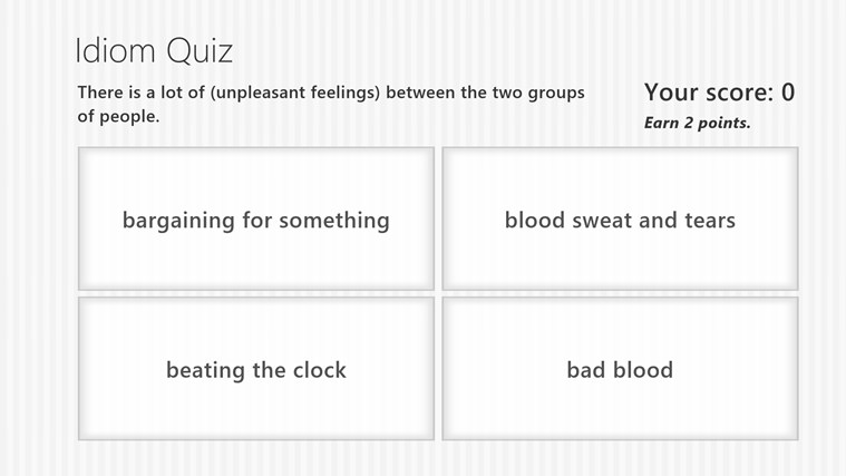 Idiom quiz screen shot 2