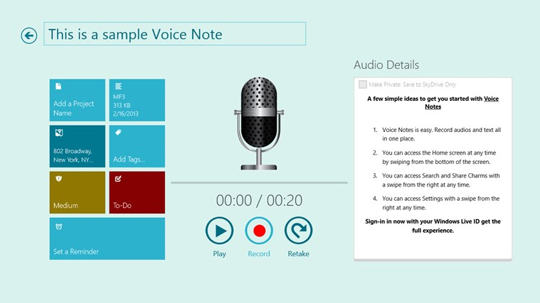 Voice Notes for SkyDrive screen shot 0
