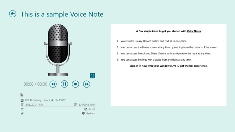 Voice Notes for SkyDrive screen shot 2