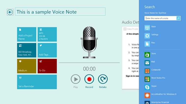 Voice Notes for SkyDrive screen shot 4