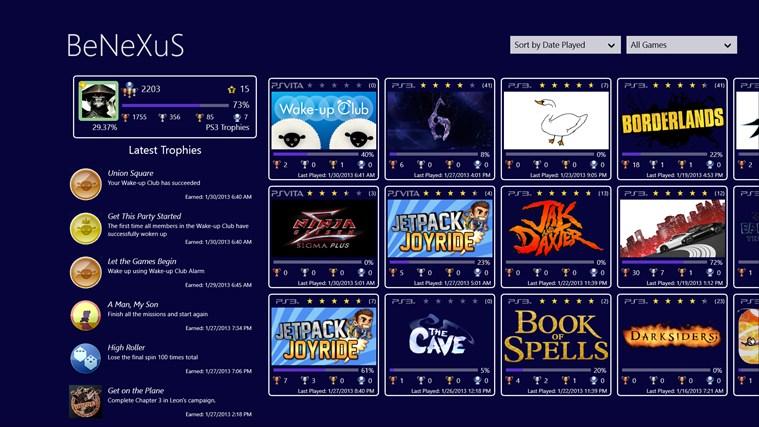 PS3 Trophies for Win8 UI full screenshot