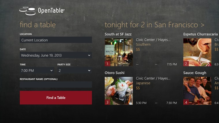 OpenTable screen shot 0