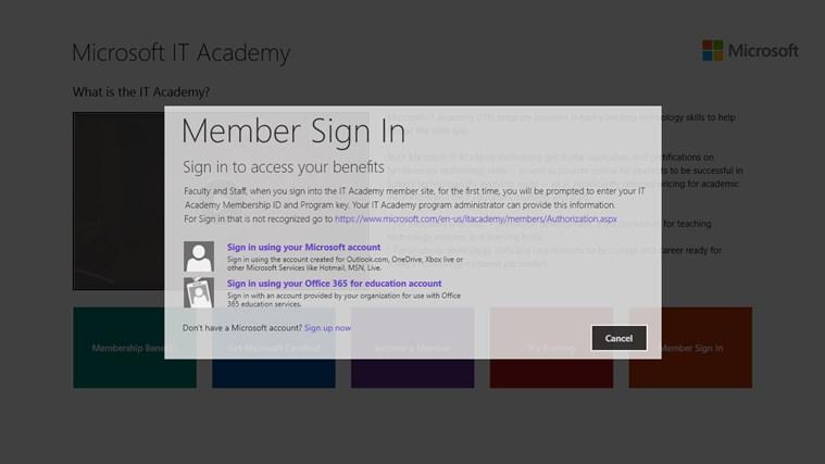 Microsoft IT Academy screen shot 2
