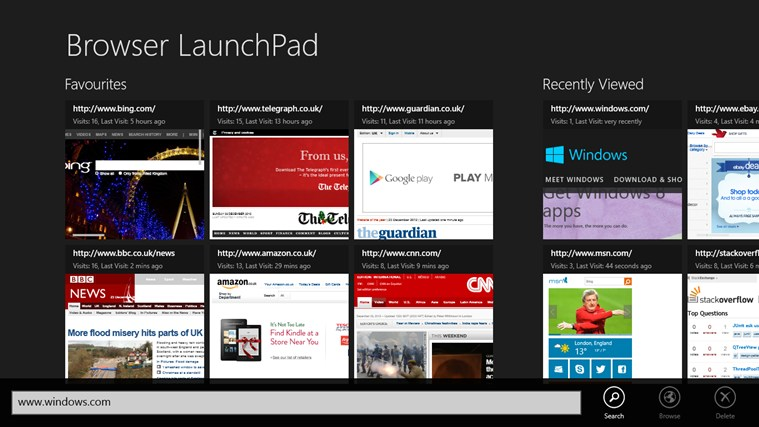 Browser LaunchPad screen shot 2