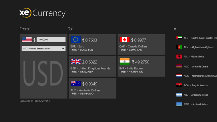 Windows 8 Currency Converter App: XE Currency